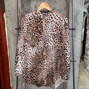 Zara Animal Leopard Print Tan Tunic Blouse Top